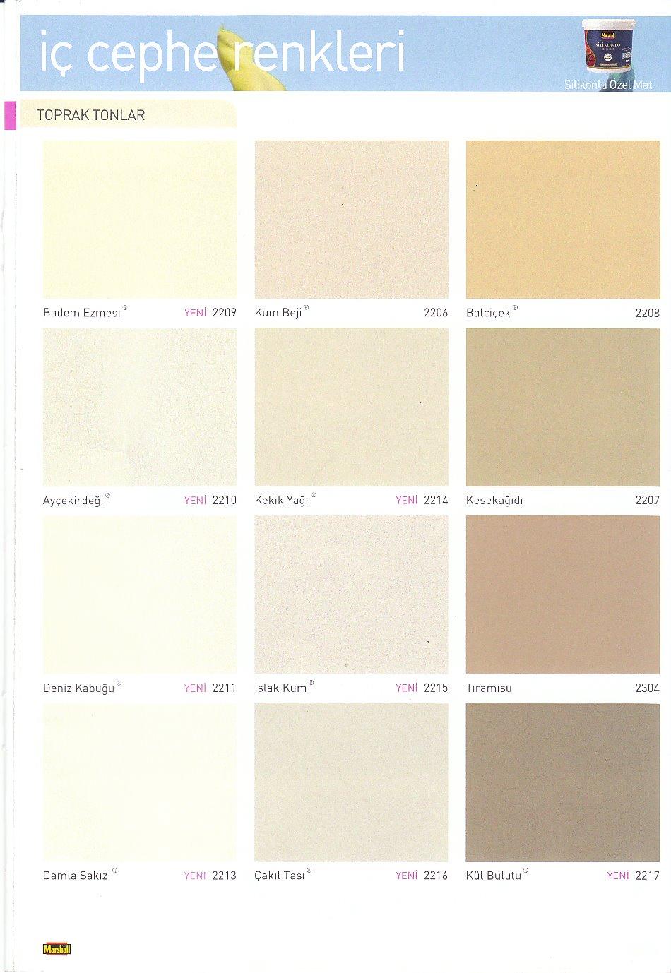 Marshall Boya Renk Kataloğu Uğur Yapı Malzemeleri